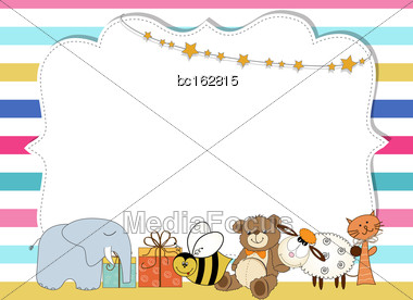 Pretty Frame On Color Lines , Template For Baby Shower Or Birthday Card, Vector Format Stock Photo