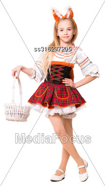 Pretty Girl In Squirrel Dress Posing With A Basket. Isolated On White Stock Photo