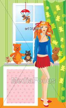 Pretty Girl With Teddy Bear Toys Standing Next To Window Stock Photo