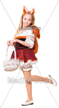Pretty Girl Wearing Squirrel Dress Posing With A Basket. Isolated On White Stock Photo