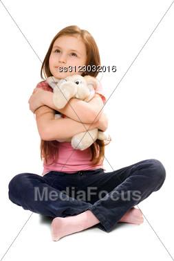 Pretty Little Girl With A Teddy Elephant Stock Photo