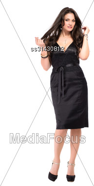 Pretty Sexy Brunette Posing In Formal Black Dress. Isolated On White Stock Photo
