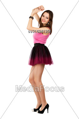 Pretty Smiling Woman Wearing Short Frank Skirt. Isolated On White Stock Photo