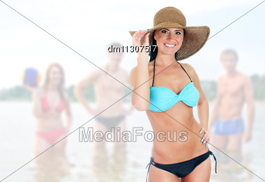 Pretty Woman In Bikini On Sea Landscape Background Stock Photo