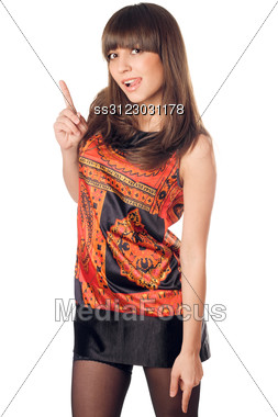 Pretty Young Brunette Showing Her Tongue. Stock Photo