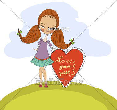 Pretty Young Girl In Love, Valentine's Day Card Stock Photo