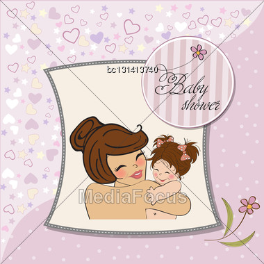 Pretty Young Mother Holding A New Baby Girl Stock Photo