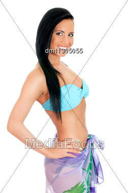 Pretty Young Woman In Bikini And Pareo. Isolated On White Stock Photo
