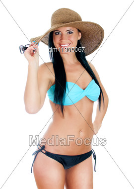 Pretty Young Woman In Bikini And Straw Hat. Isolated On White Stock Photo