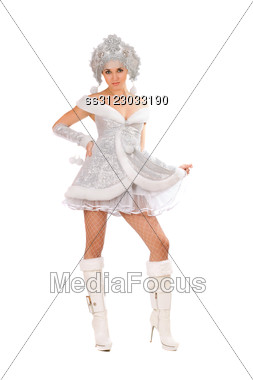 Pretty Young Woman Dressed As Snow Maiden Stock Photo