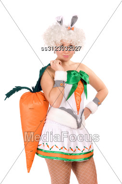 Pretty Young Woman Dressed In A Suit Rabbit Stock Photo