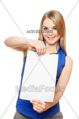 Pretty Young Woman Holding Empty White Board. Stock Photo