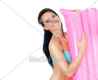Pretty Young Woman Holding Pink Inflatable Mattress. Isolated On White Stock Photo