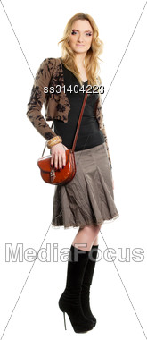 Pretty Young Woman With A Handbag. Isolated Stock Photo