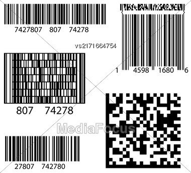 Product Barcode 2d Square Label. Sample QR Code Ready To Scan With Smart Phone Stock Photo