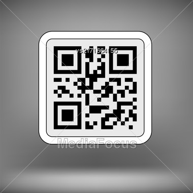 Product Barcode 2d Square Label On Soft Grey Background. Sample QR Code Ready To Scan With Smart Phone Stock Photo
