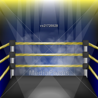 Professional Empty Boxing Ring With Ropes. Hand Drawn Cartoon Of Sport Stadium With Spotlights Stock Photo