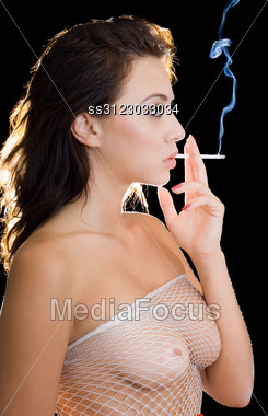 Women smoking in the nude