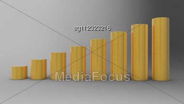 Progress Or Success: Golden Coins Stacks Over Grey Background Stock Photo