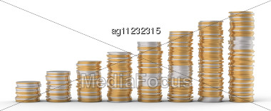 Progress And Wealth: Golden And Silver Coins Stacks Over White Stock Photo