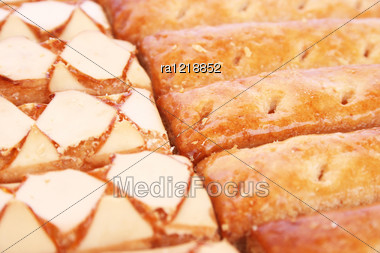 Puff Pastry As A Background. Stock Photo