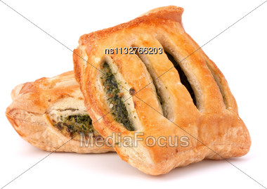Puff Pastry Bun Isolated On White Background. Healthy Patty With Spinach Stock Photo