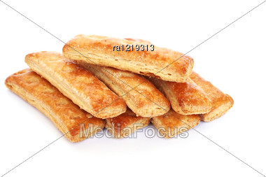 Puff Pastry Isolated On White Background. Stock Photo