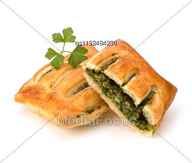 Puff Pastry Isolated On White Background. Healthy Pasty With Spinach Stock Photo