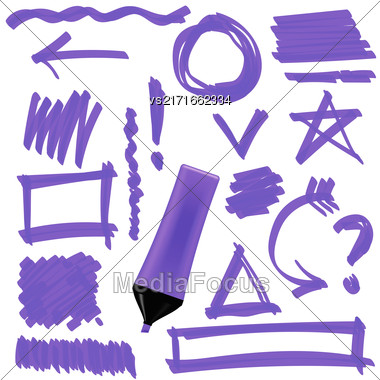 Purple Marker Isolated On White Background. Set Of Graphic Signs. Arrows, Circles, Correction Lines Stock Photo