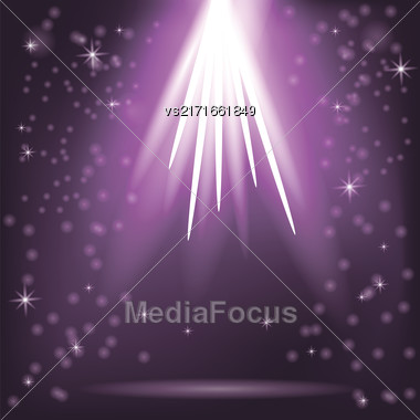 Purple Rays Of Magic Lights On Blurred Starry Background. Night Sky Stock Photo
