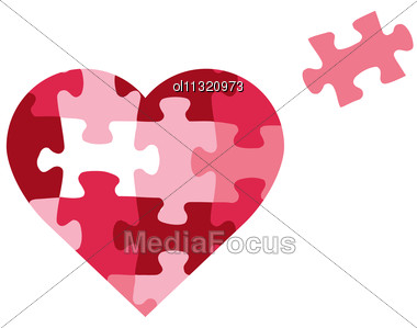 Puzzle Heart Icon Stock Photo