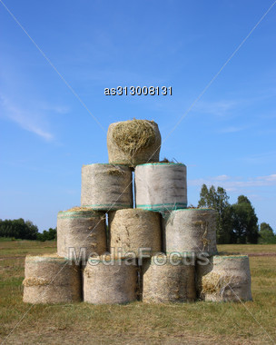 Pyramid Of A Large Bail Of Hay Stock Photo