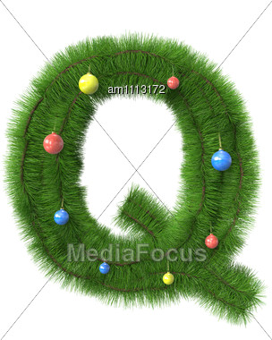 Q Letter Made Of Christmas Tree Branches Stock Photo