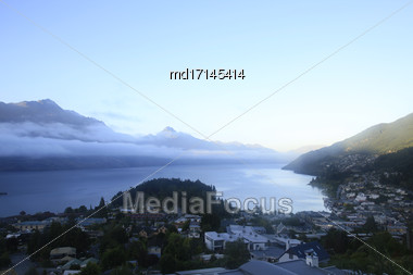 Queenstown New Zealand South Island Adventure Capital Stock Photo