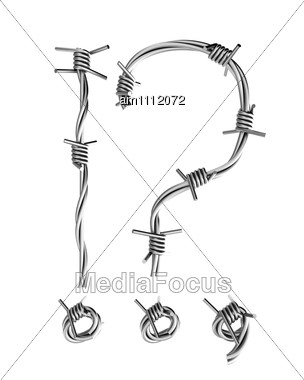 Question And Exclamation Mark Made From Barbed Wire Stock Photo