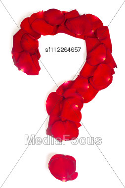 Question Sign Made From Red Petals Rose Stock Photo