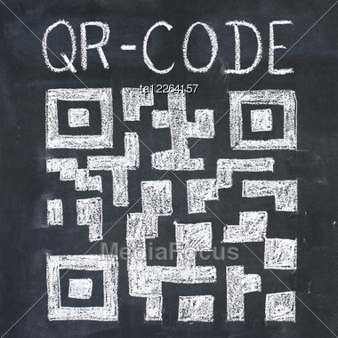Quick Response Code (qr-code) On A Blackboard, Chalk Drawing Stock Photo