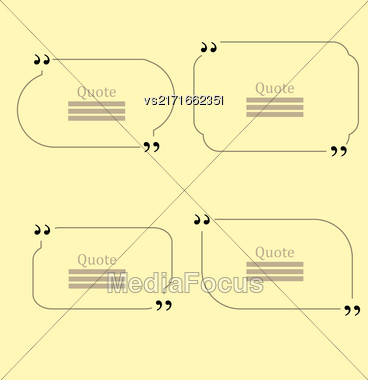 Quote Bubble. Set Of Speech Bubbles. Empty Templates On Yellow Background Stock Photo