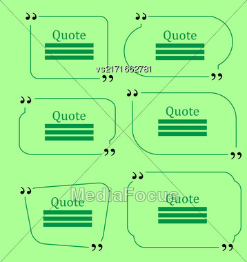 Quote Bubble. Set Of Speech Bubbles. Empty Templates On Green Background Stock Photo