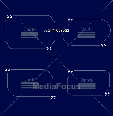 Quote Bubble. Set Of Speech Bubbles. Empty Templates On Blue Background Stock Photo
