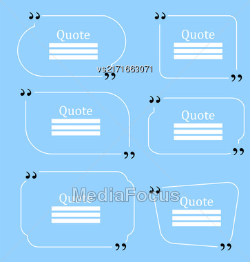 Quote Bubble. Speech Bubble. Empty Template On Blue Background Stock Photo