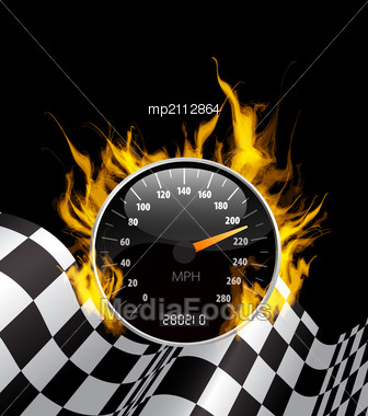 Auto Racing Flags on Photo  Racing Background With Burning Speedometer And Checkered Flag