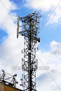 Radio Relay Link, Mobile Base Station Of Mobile Operator (BTS Stock Photo