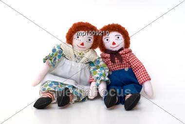 Raggedy Ann & Andy handmade USA rag cloth dolls Stock Photo