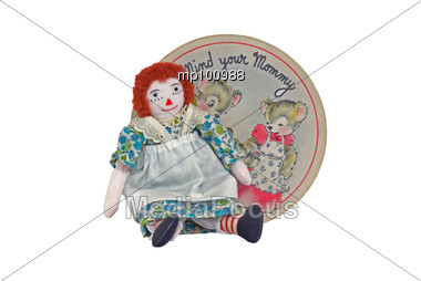 Raggedy Ann & Mommy song on old record with bears Stock Photo