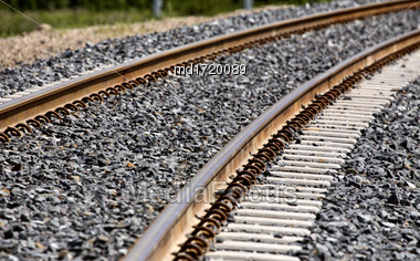 Railroad Tracks New Cement Ties In Saskatchewan Canada Stock Photo