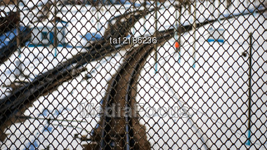 Railroad Tracks Through The Grid, Top View Stock Photo