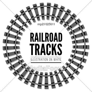 Railroad Tracks Vector Illustration Isolated On White Background Stock Photo