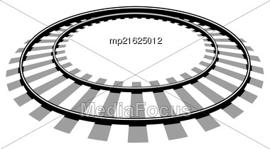 Railroad Tracks Vector Illustration Isolated On White Background Stock Photo