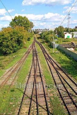 Railway Near Rural Railway Station Stock Photo